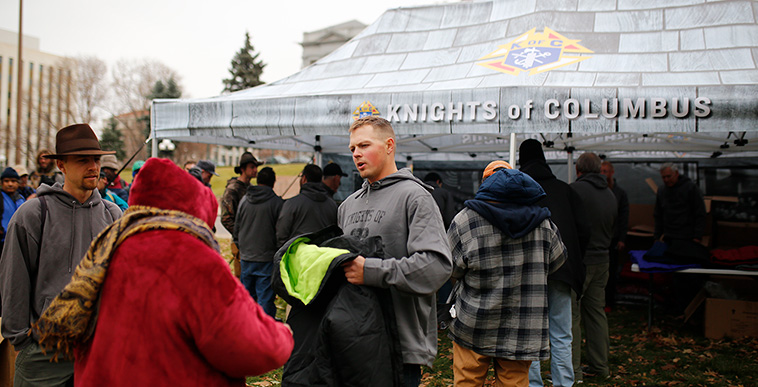 Knights Give Coats to the Homeless in Denver